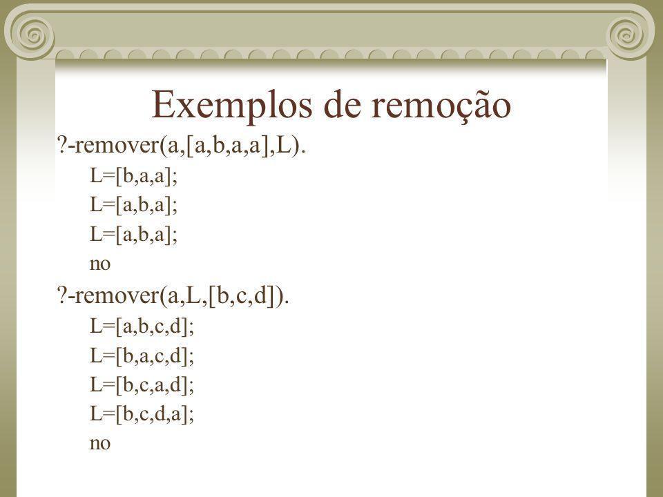 Exemplos de remoção -remover(a,[a,b,a,a],L). -remover(a,L,[b,c,d]).